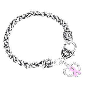 Enamel Breast Cancer Silver Bracelet